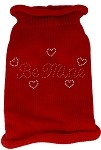 Be Mine Rhinestone Knit Pet Sweater SM Red